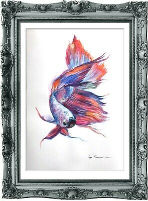 original painting watercolor red fish HI peinture originale art A3