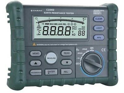 Cabac DIGITAL EARTH RESISTANCE TESTER CABC2302 3-Wire CATIII 300V Data Memory