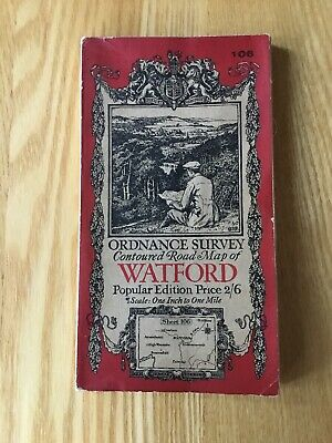 1928 Ordnance Survey One Inch Contoured Road Map 106 Watford (incl High Wycombe