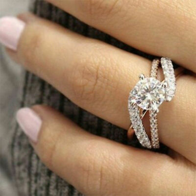 Silver Crystal Rose Gold Plated Diamond Ring Women Exquisite Wedding Rings Band
