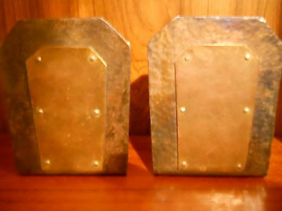 Antique Arts & Crafts Hammered Copper & Metal  Bookends With Rivits And Patina