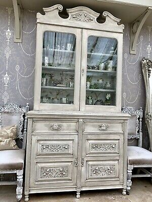 Carved Antique Glazed Bookcase Display Cabinet Dresser Edwardian