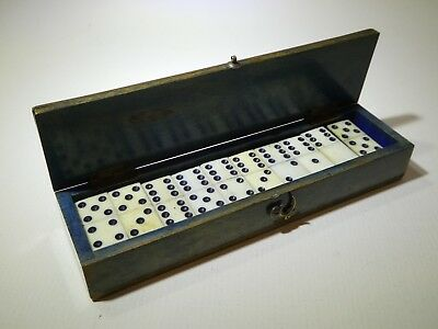 Fine set of antique miniature dominoes in brass bound wooden box