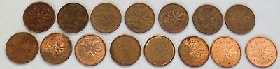 15 x Different Years 1 Cent CANADA COINS Bundle Set Canadian Elizabeth II Queen