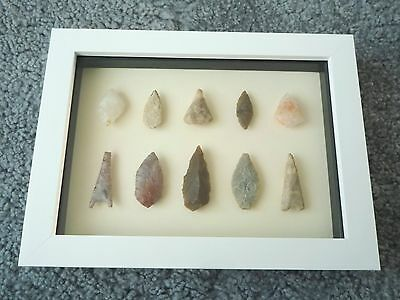 Neolithic Arrowheads in 3D Picture Frame, Authentic Artifacts 4000BC (0441)