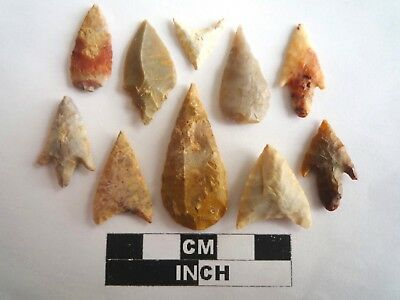 Neolithic Arrowheads x 10, High Quality Selection of Styles - 4000BC - (2132)