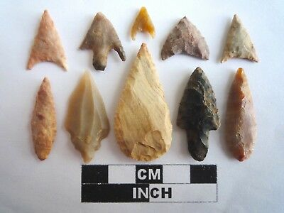 Neolithic Arrowheads x 10, High Quality Selection of Styles - 4000BC - (2125)