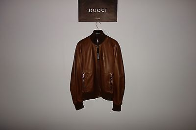 Gucci Brown ICONIC Inner Web Leather Bomber Jacket 46 IT (S-M) MadeInItaly, RARE