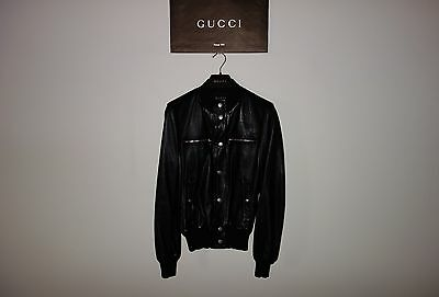 Gucci Black ICONIC Inner Web Leather Bomber Jacket 46 IT (S-M) MadeInItaly, RARE