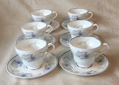 6 X Shelley Sycamore 14100 Beautiful Demitasse/coffee Cups & Saucers Excellent