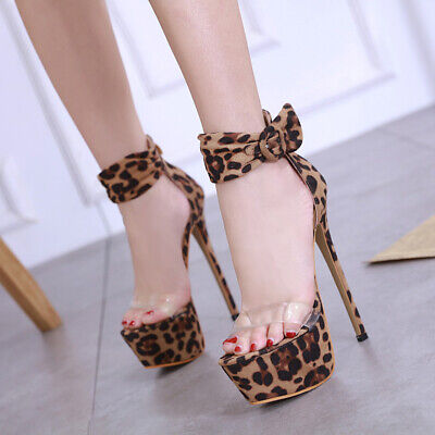 Sexy high heel stiletto platforms leopard skin print clear barely there sandals