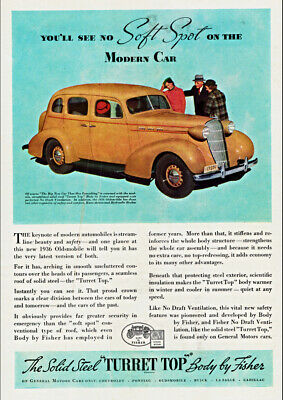 1936 Oldsmobile Sedan With Body By Fisher Ad Art Print Poster