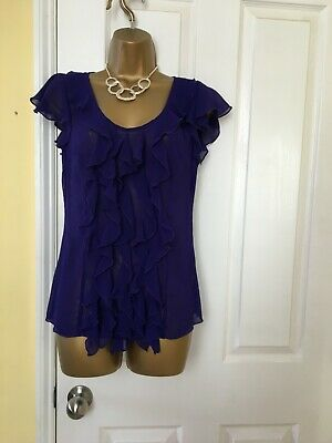 Ladies Per Una delicate violet top with frills on sleeves & down front size 10