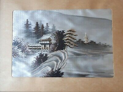 Japanese Embroidered Silk Landscape  Picture 1970s