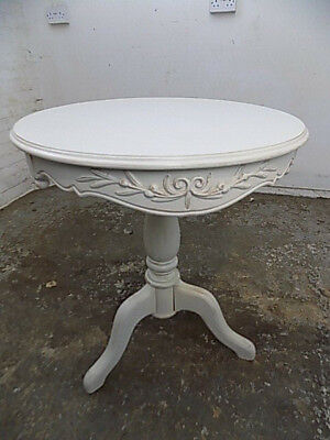 small,round,table,painted,white,end table,side table,pedestal base,carved,bed