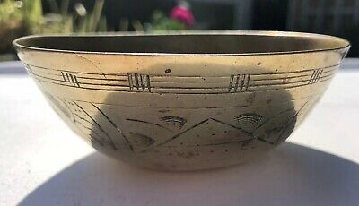 Antique Old Unusual Chinese Hand Engraved Etched Small Brass Bowl