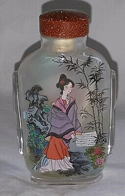 Chinese glass vintage Art Deco oriental antique small snuff bottle C
