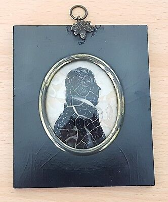 Ebony wood frame vintage pre Victorian antique silhouette picture