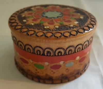 Russian hand painted wood vintage Art Deco antique cylinder box