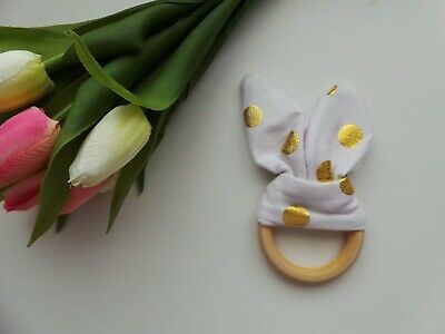 Wooden Bunny Ear Teether - Baby Toddler Infant Teething Ring Toy White And Gold