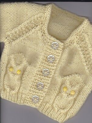 """18"""" ( 3 mths) Owl Cardigan for baby ~(NEW) Bright Lemon~Hand Knitted"""