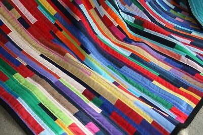 """NEW - Hand Made Quilt """"COLOURED STRIPPY"""" Design by Quilt-Addicts 72"""" x 63"""""""