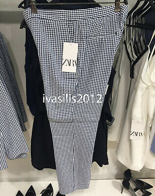 07b8a698 Zara New Gingham Trousers Checked Pant Mid-Waist Blue/White All Sizes 8073/