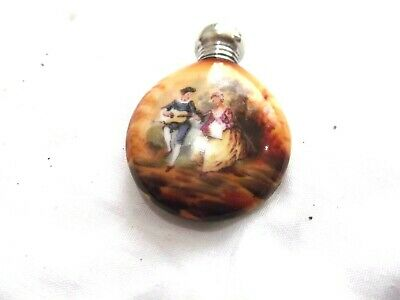 Solid silver topped hand painted scent bottle Birmingham 1904 A B & Co.