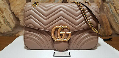 ba0424b278f  2490 Authentic Gucci GG Marmont Medium Beige Matelassé Leather Shoulder Bag