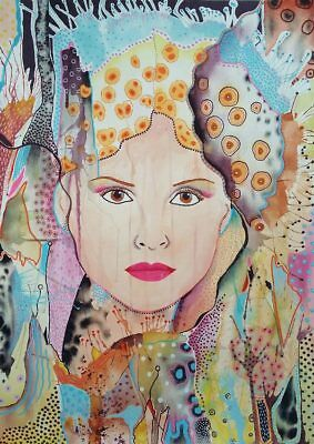 Abstract Portrait Art Large Painting Mixed Media Woman Girl Faces Pastel Colour
