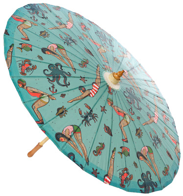 Sourpuss Tattooed Divers Parasol | Poison Arrow Retro