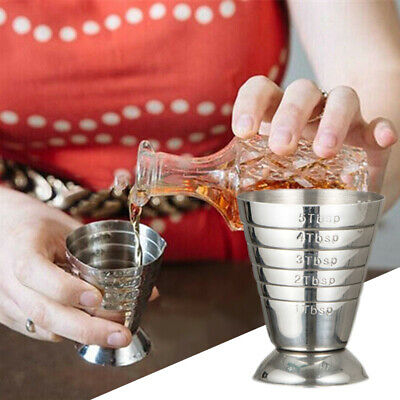 Stainless Steel Measure Cup Shot Ounce Jigger Bar Mixed Cocktail Beaker Kit 75ml