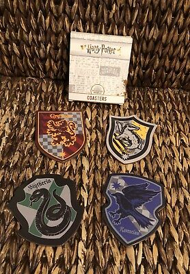 NEW Culturefly Harry Potter MAGICAL CREATURES 4 pc House Crest Coaster Set