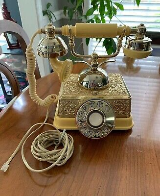Vintage French Continental Style Gold Phone Old Fashioned Rotary Dial Telephone