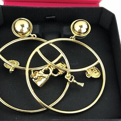 20aaf33174b13 AUTHENTIC JUICY COUTURE Gold Color Charm Hoop Earrings Padlock WJW503 Box  Tag