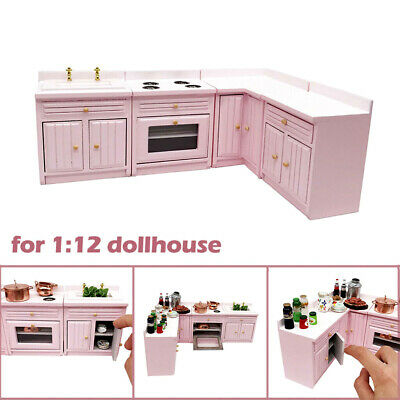 4pc Dollhouse Miniature Kitchen Stove Sink Corner Cabinet Cupboard set 1:12 Pink
