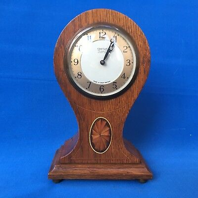 Edwardian Oak Cased Balloon Shaped Mantel Clock by Smiths England