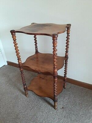 Victorian three tier etagere display shelves antique walnut whatnot lamp table