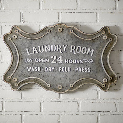 Primitive Country LAUNDRY ROOM METAL SIGN PLAQUE Rustic Farmhouse Wall Hanging
