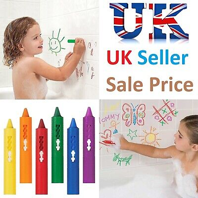 6 X Kids Baby Washable Bath Crayons Non Toxic Wipe-Able Drawings Fun Toy Pens Uk