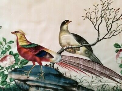 19th Century Chinese Painting on Pith Paper of Birds and Blossom