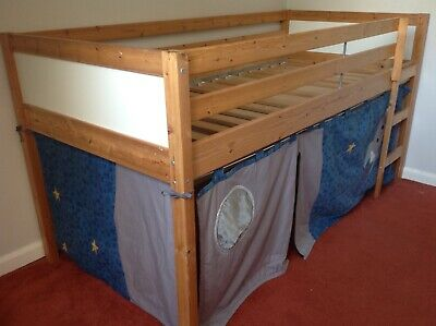 Pine Cabin Den Bed, Space Rocket themed with rug and duvet cover