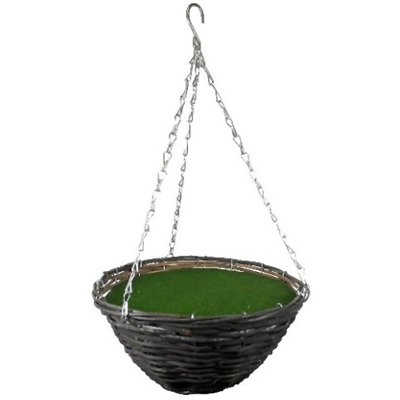 """12"""" Natural Wicker Hanging Basket Round With Polystyrene Insert"""