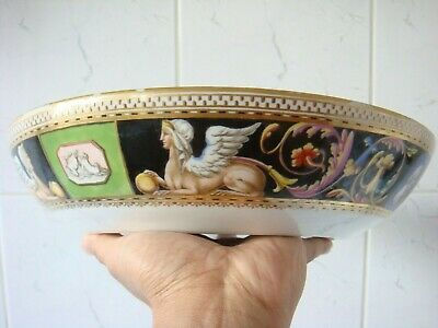 Meissen Marcolini Period Rare Egyptian Sphinx & Motifs Decorated Punch Bowl