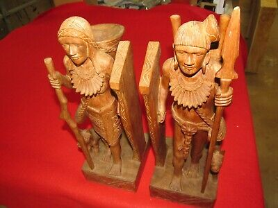 Pair Vintage spectacular Polynesian native hand carved bookends Philippines