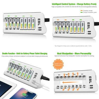 Upgraded USB Outputs 8 Bays AA AAA Battery Charger With 8 Packs Rechargeable Bat