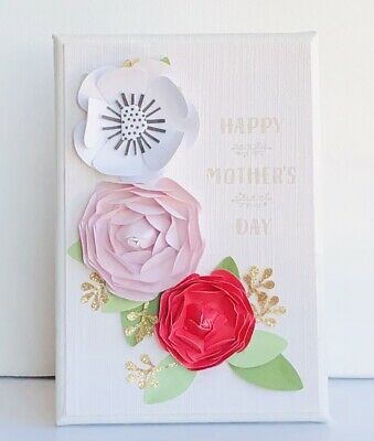 """Mixed Media Art, Collage Art, Mother's Day Gift For Mom Or Daughter 5x7 """" Canvas"""