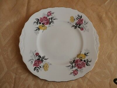 """Royal Vale Bone China Bread and Butter Plate """"Pink & Yellow Rose"""""""