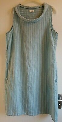 d78ddabab7 NEW LINA TOMEI Made In Italy - Cool Blue Stripe Linen Summer Dress 1X 18 20