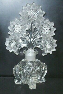 Vintage IRICE Imperial Glass Frosted SUNFLOWER Stopper Dabber Perfume Bottle